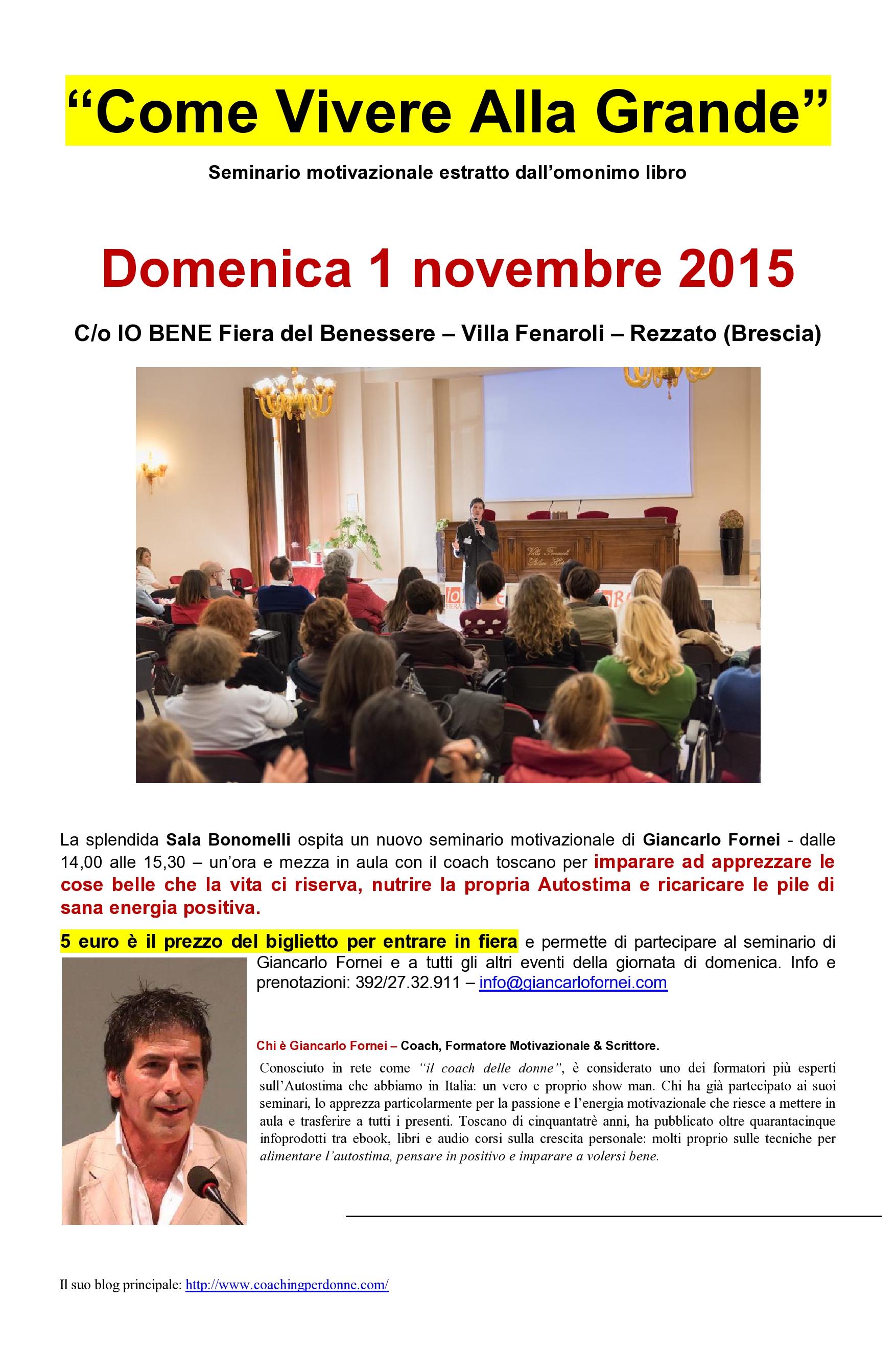 Locandina seminario Giancarlo Fornei Io Bene (Rezzato - Brescia) 1 novembre 2015