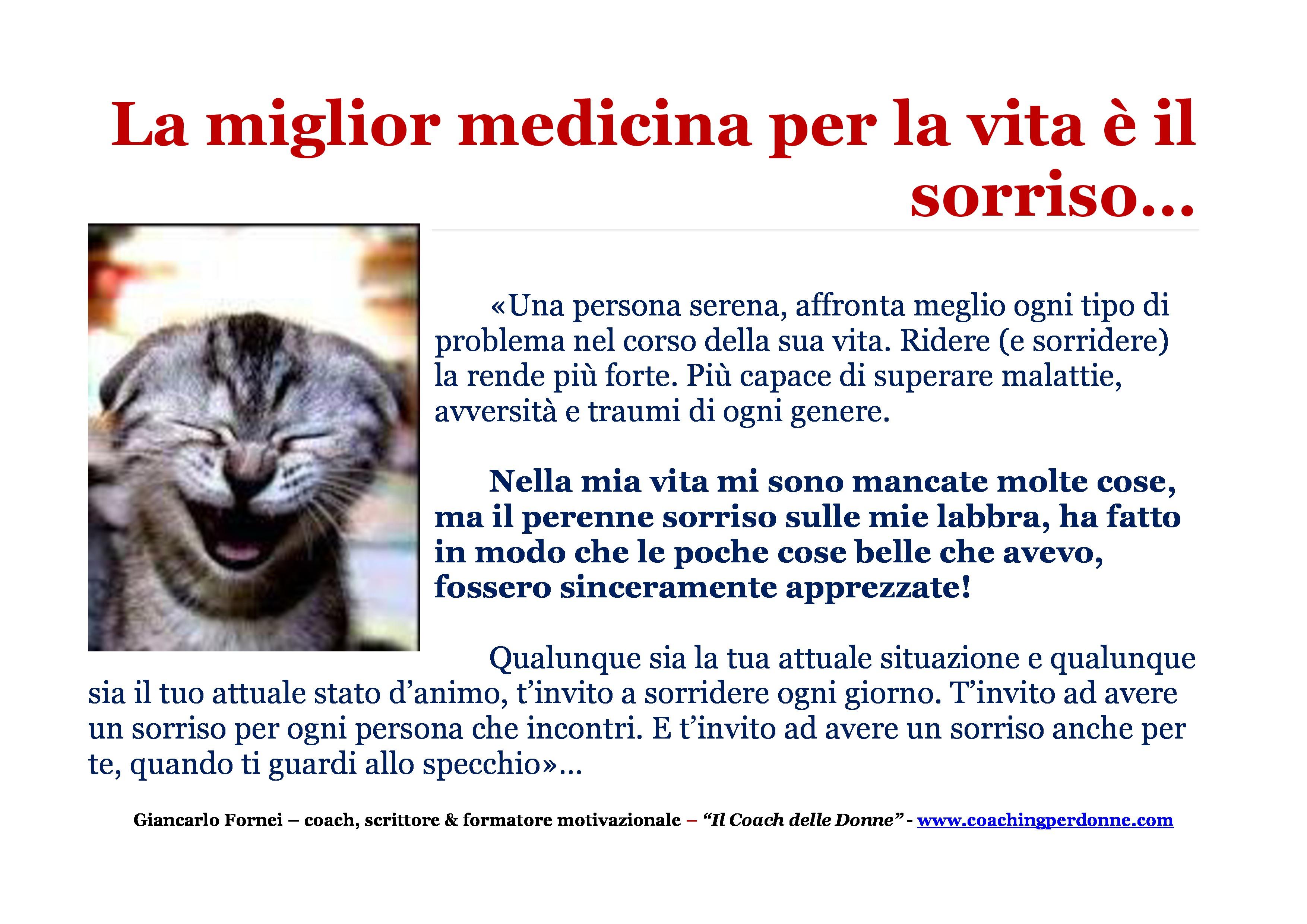 Il sorriso, una frase del coach motivazionale Giancarlo Fornei - 20 marzo 2016