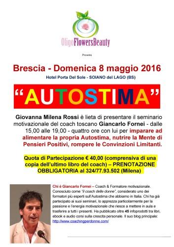 Autostima Bassa? Passa l'8 maggio con il coach delle donne a Brescia, per imparare a ricaricarla al massimo e volerti bene!