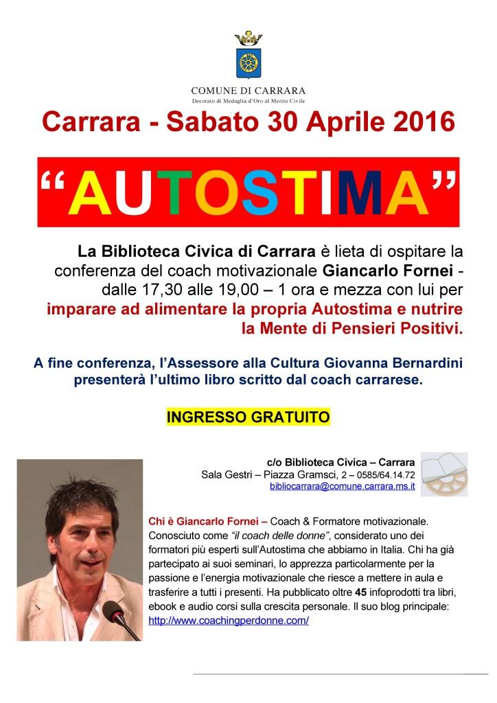 Locandina seminario Giancarlo Fornei Carrara 30 aprile 2016