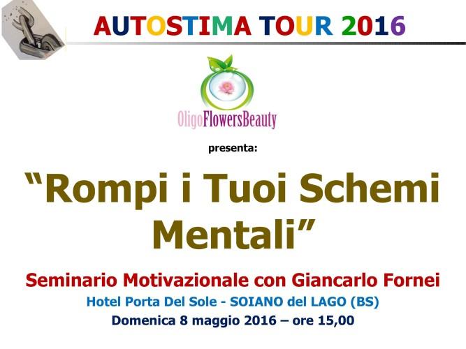 AUTOSTIMA TOUR 2016: 8 maggio, seminario motivazionale di Giancarlo Fornei a Soiano del Lago (BS)!