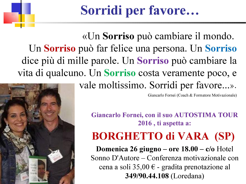 SORRISO - una frase del coach motivazionale Giancarlo Fornei (5 giugno 2016)
