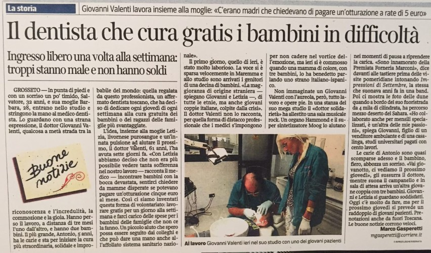 """Tra pochi giorni l'intervista al Dentista """"Buono"""" Giovanni Valenti e a sua moglie Letizia Zigoli: due persone che parlano poco e aiutano molto!"""