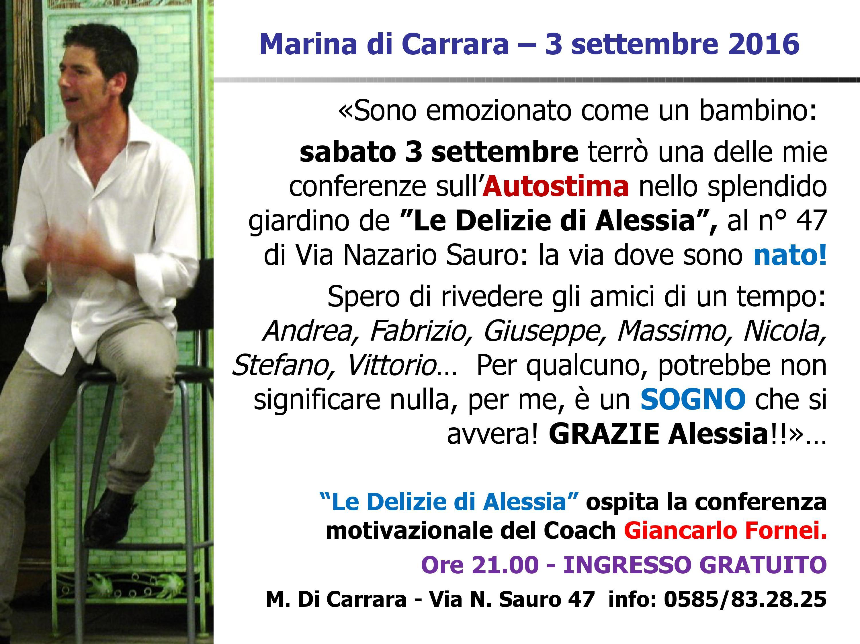 AUTOSTIMA TOUR 2016 - Marina di Carrara - conferenza autostima 3 settembre  - una frase del coach