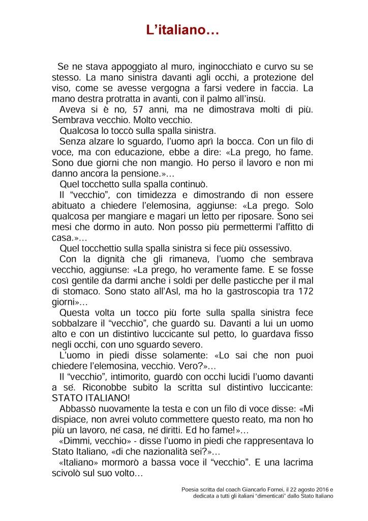 L'Italiano - poesia scritta dal coach Giancarlo Fornei il 22 agosto 2016 - dedicata a tutti gli italiani dimenticati