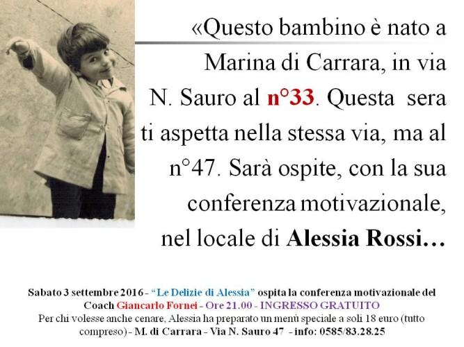 Autostima Tour 2016 - sono Giancarlo Fornei e ti aspetto questa sera a Marina di Carrara, in via N. Sauro 47 con la mia conferenza sull'autostima...