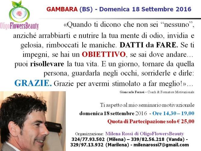 #AUTOSTIMA TOUR 2016 - domenica 18 settembre ti aspetto a Gambara di Brescia, con il mio seminario motivazionale...