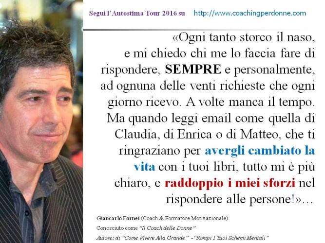 #AUTOSTIMA - tutto mi è più chiaro - una frase del coach motivazionale Giancarlo Fornei (4 settembre 2016)!
