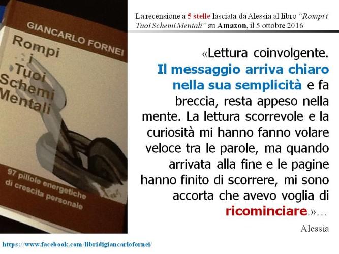 """La recensione a 5 stelle su Amazon di Alessia al libro """"Rompi i Tuoi Schemi Mentali""""..."""