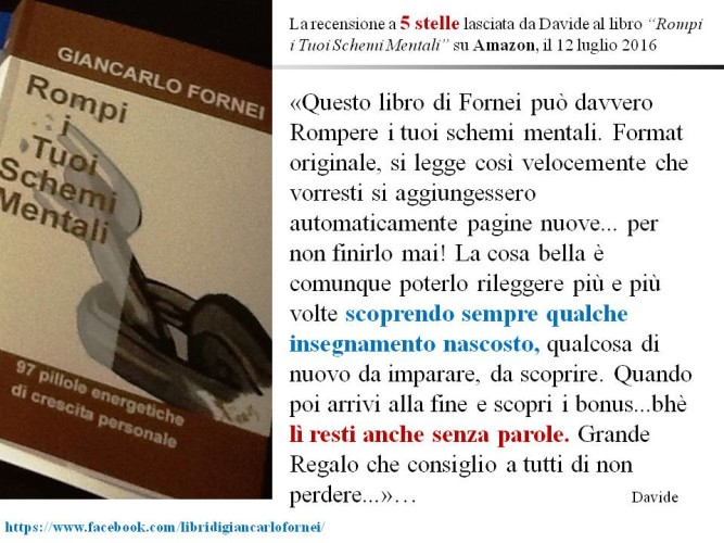 """""""Rompi i Tuoi Schemi Mentali"""" - la recensione a 5 stelle di Davide all'ultimo libro del coach motivazionale Giancarlo Fornei su Amazon!"""