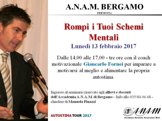 Parte l'Autostima Tour 2017: prima tappa Bergamo. Ospite dell'Accademia A.N.A.M. di Bergamo!