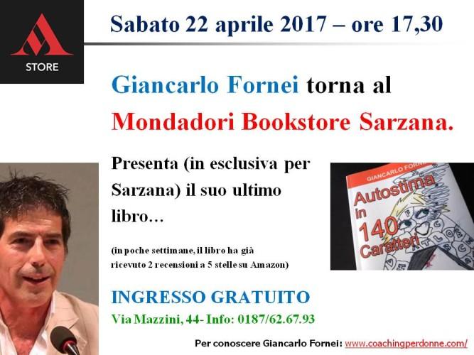 Giancarlo Fornei torna al Mondadori Bookstore di Sarzana (sabato 22 aprile 2017)!
