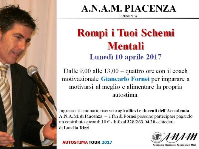 Giancarlo Fornei (e il suo seminario motivazionale) a Piacenza, ospite dell'Accademia Anam: lunedì 10 aprile 2017!