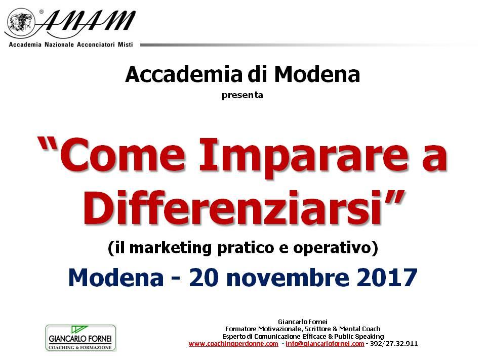 Come imparare a differenziarsi - 3° giornata formativa - Modena 20 novembre 2017 - cartolina