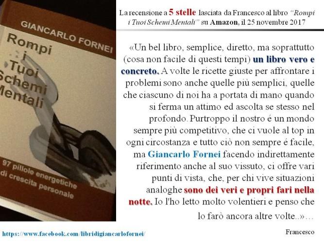 Rompi i Tuoi Schemi Mentali: la bella recensione (a cinque stelle) di Francesco su Amazon al libro di coach Fornei!