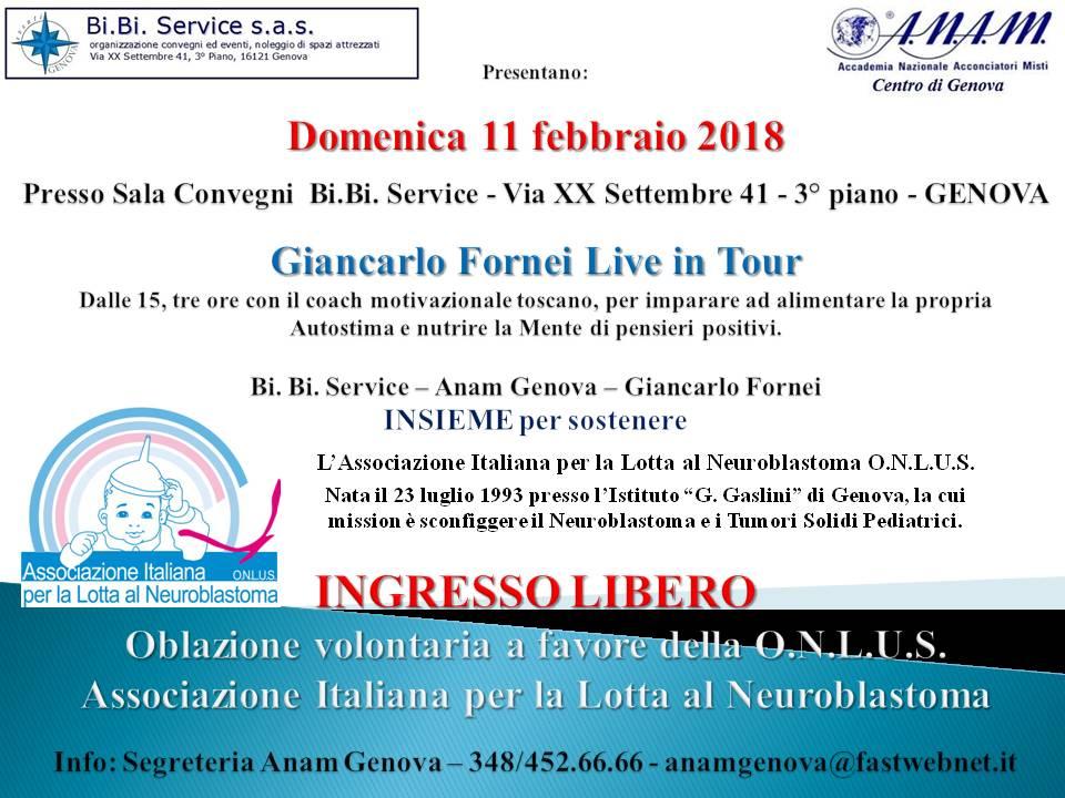 Seminario Giancarlo Fornei a Genova evento benefico 11 febbraio 2018 a favore Associazione Italiana Lotta Neuroblastoma