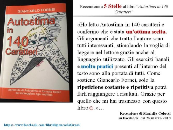 """Facebook: la bella recensione al libro """"Autostima in 140 Caratteri"""" di Mariella Colucci!"""