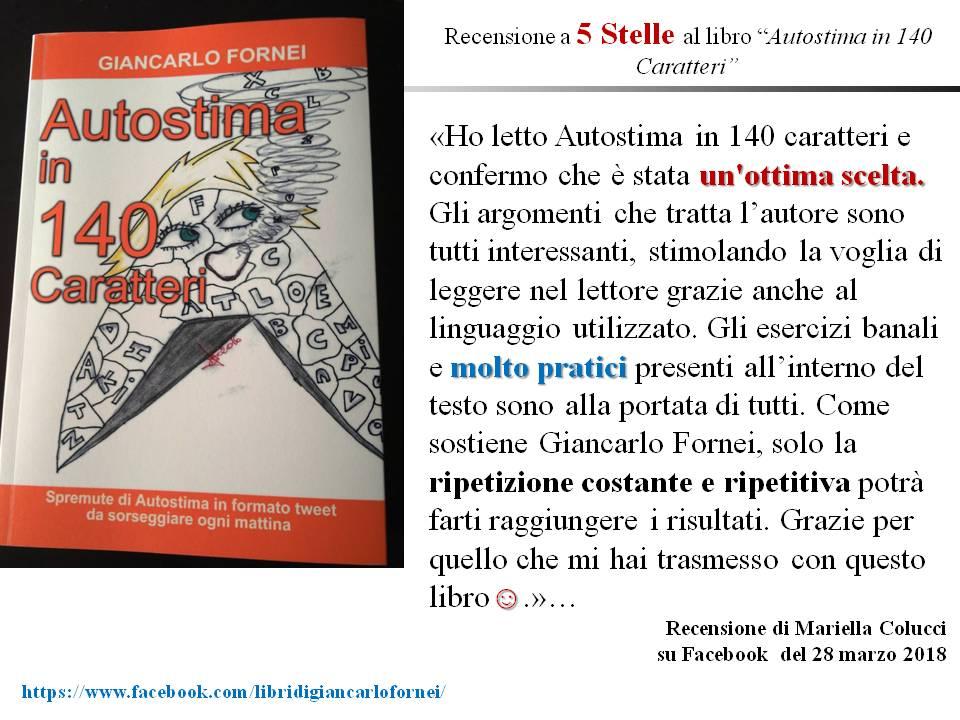 Autostima in 140 Caratteri - recensione di Mariella Colucci su Facebook - 28 marzo 2018