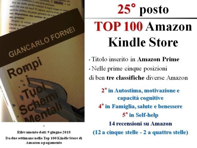 """""""Rompi i Tuoi Schemi Mentali"""" al 25° post della TOP 100 AMAZON KINDLE STORE (9 giugno 2018)!"""