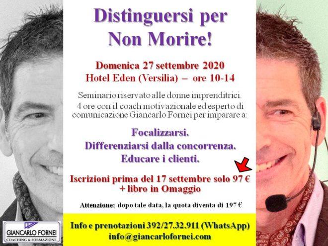 Distinguersi per Non Morire - seminario live in Versilia con Giancarlo Fornei domenica 27 settembre 2020